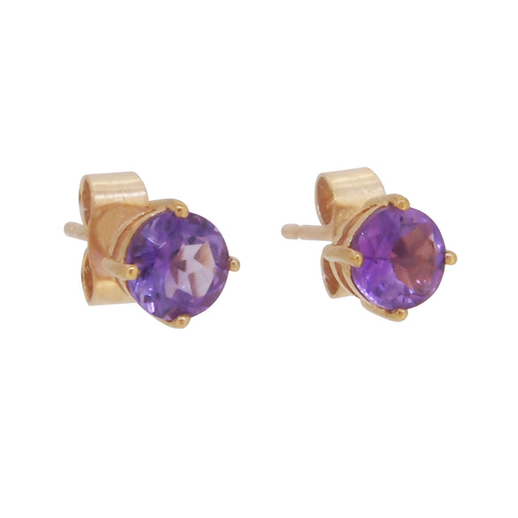 A pair of modern, amethyst set stud earrings