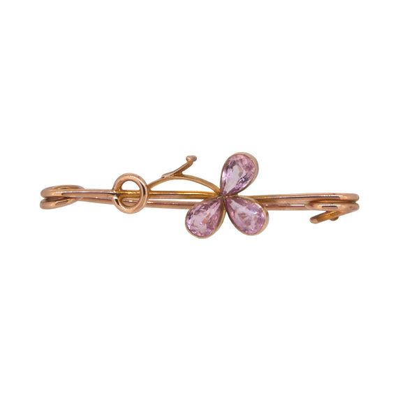 An early 20th century, 9ct yellow gold, pink tourmaline set, floral bar brooch