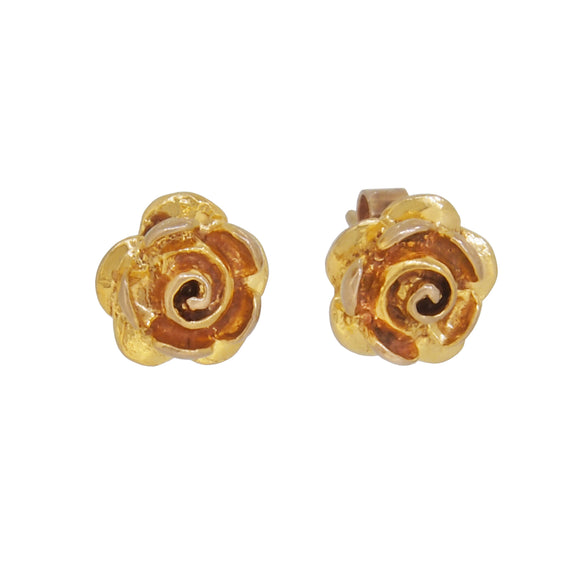 A pair of modern, 9ct yellow gold, floral stud earrings