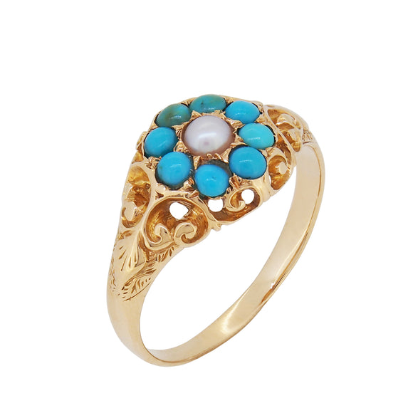 A modern, 9ct yellow gold, turquoise & pearl set cluster ring