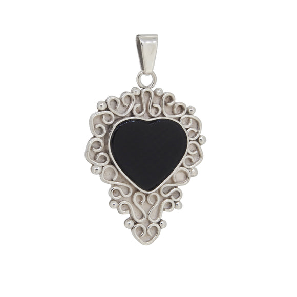 A modern, silver, black onyx set, heart shaped pendant