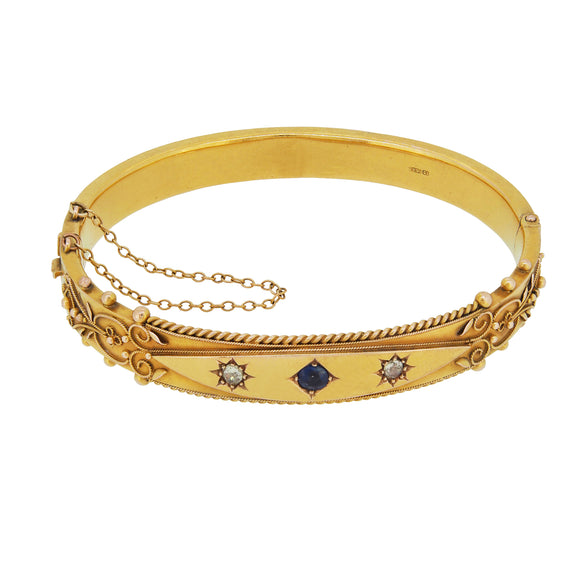 A Victorian, 15ct yellow gold, sapphire & diamond set, shot & grain bangle