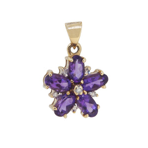 A modern, 9ct yellow gold, amethyst & diamond set cluster pendant
