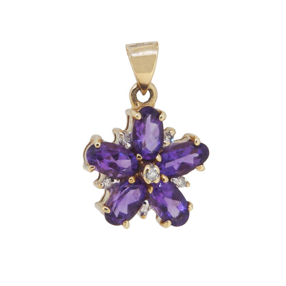 A 9ct yellow gold, amethyst & diamond set cluster pendant