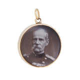 A Victorian, 9ct yellow gold, double photograph fob