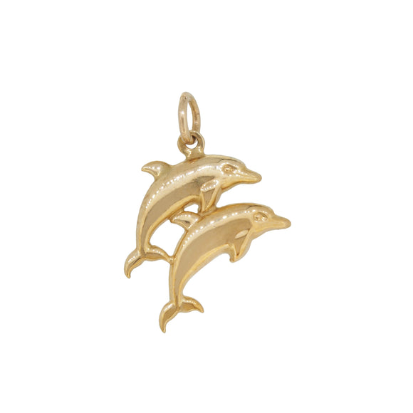 A modern, 9ct yellow gold, twin dolphin pendant