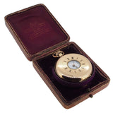 An early 20th century, 14ct yellow gold, half hunter pocket watch & fitted case