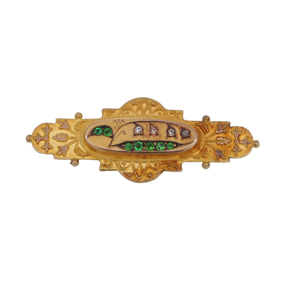 A Victorian, 9ct yellow gold, demantoid garnet & diamond set brooch