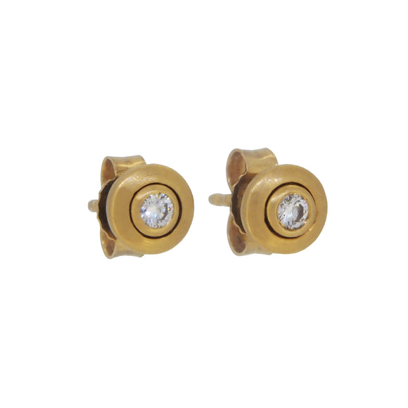 A pair of modern, 18ct yellow gold, diamond set stud earrings