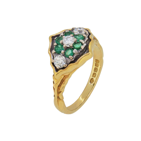 A modern, 18ct yellow gold, emerald & diamond set cluster ring