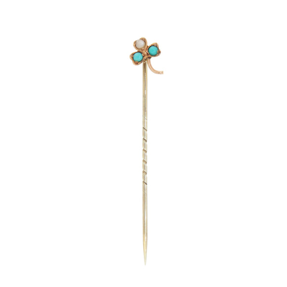 An early 20th century, yellow gold, turquoise & pearl set stick pin