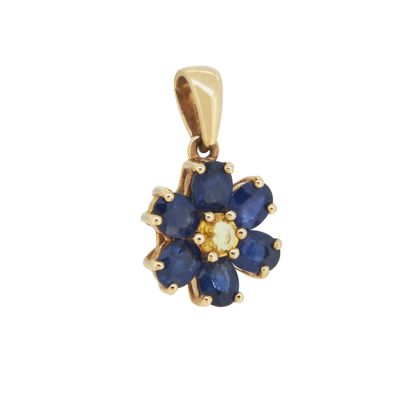 A modern, 9ct yellow gold, yellow & blue sapphire set floral style pendant