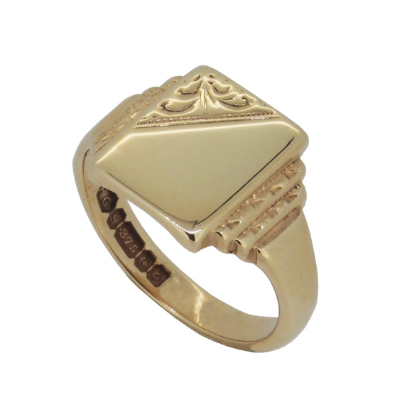 A mid 20th century, 9ct yellow gold, partially engraved, square signet ring