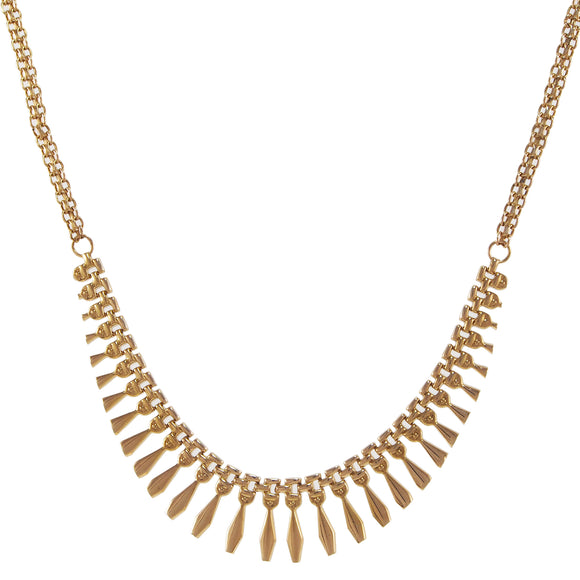 A modern, 9ct yellow gold, Cleopatra fringe necklace