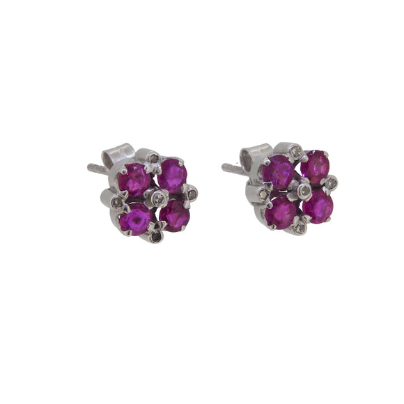 A pair of mid 20th century, 18ct white gold, ruby & diamond set cluster stud earrings