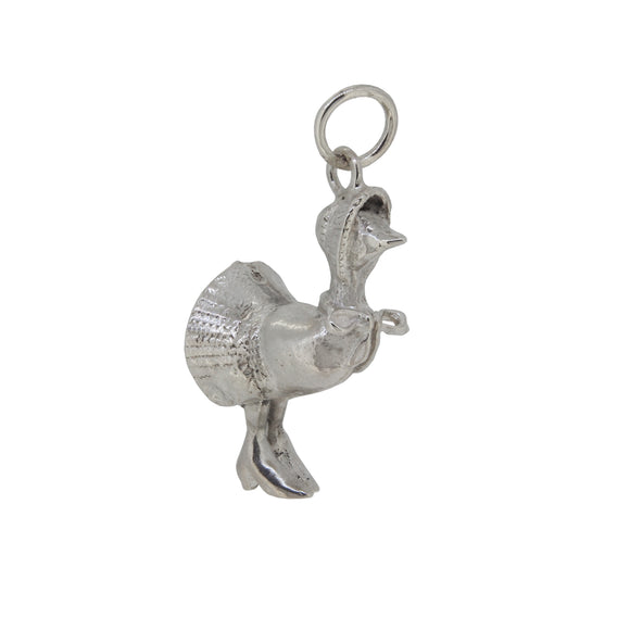 A silver, duck charm pendant
