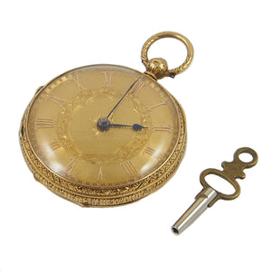 A Victorian, 18ct yellow gold, key wound, ladies fob watch