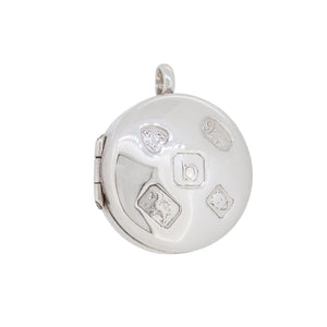 A modern, silver box locket with feature hallmarks