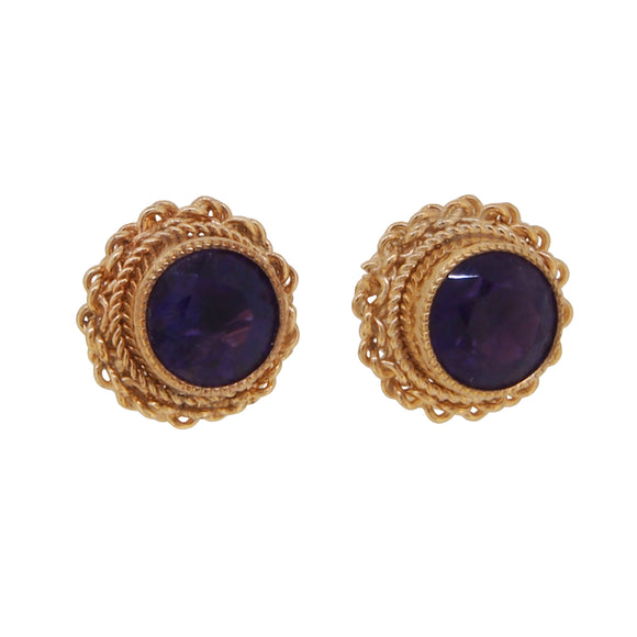 A pair of modern, 9ct yellow gold, amethyst set stud earrings with a cord border