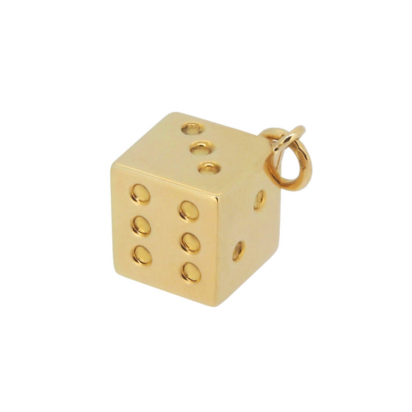 A mid 20th century, 18ct yellow gold dice charm pendant