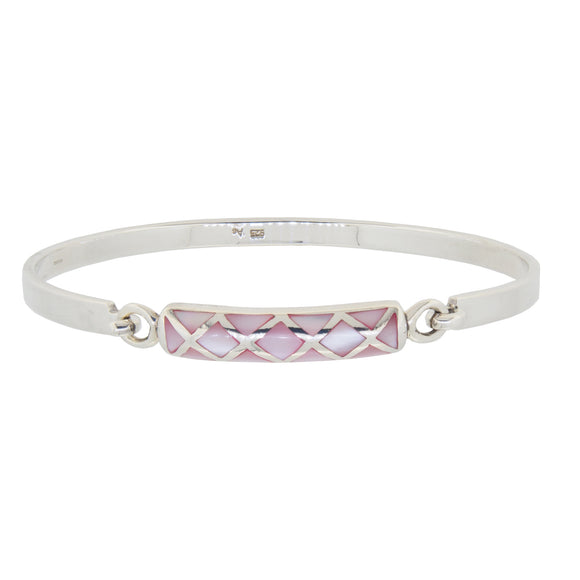 A modern, silver, pink Mother of Pearl set bangle