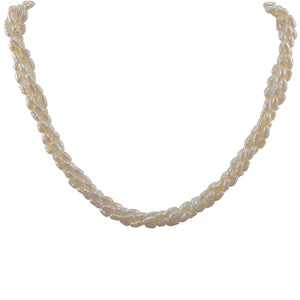 A freshwater pearl, four row twist necklace on a silver snap