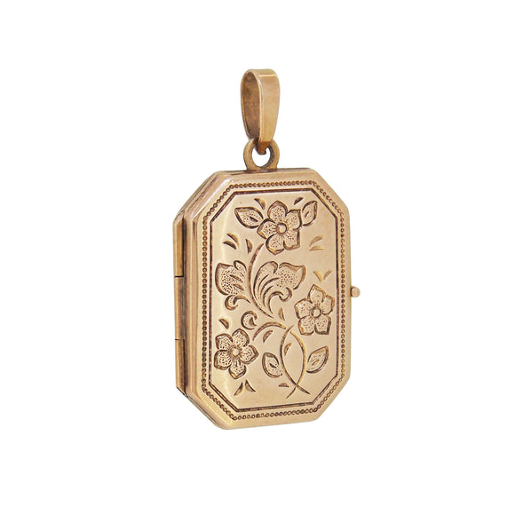 A modern, 9ct yellow gold, engraved, cut corner style rectangle locket
