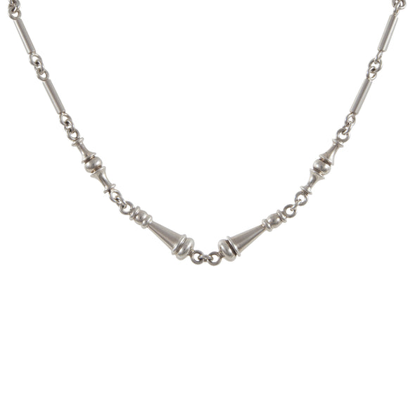 A modern, silver, abstract link chain