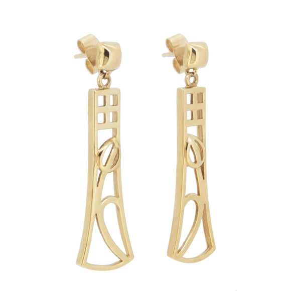 A pair of modern, 9ct yellow gold, floral drop earrings