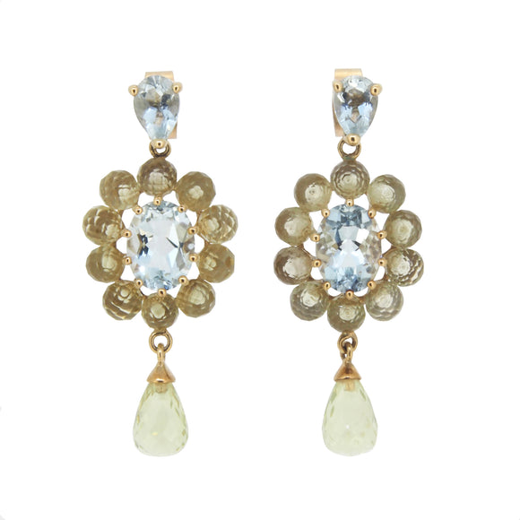 A pair of early 20th century, yellow gold, aquamarine & quartz set drop earrings
