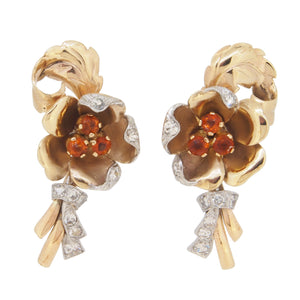 A pair of early 20th century, yellow gold, citrine & diamond set, floral stud earrings