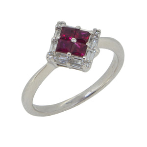 A modern, 9ct white gold, ruby & diamond set cluster ring