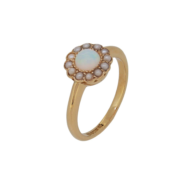 An Edwardian, 18ct yellow gold, opal & seed pearl set cluster ring