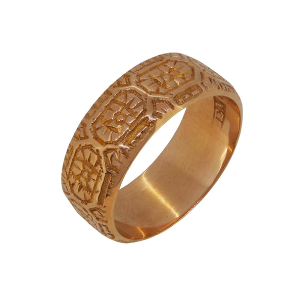 A Victorian, 18ct yellow gold, engraved keeper ring