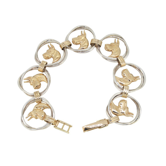 A modern, 14ct yellow gold & silver, Great Dane bracelet