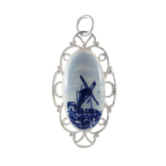 An early 20th century, Delftware pendant, featuring an image of a windmill