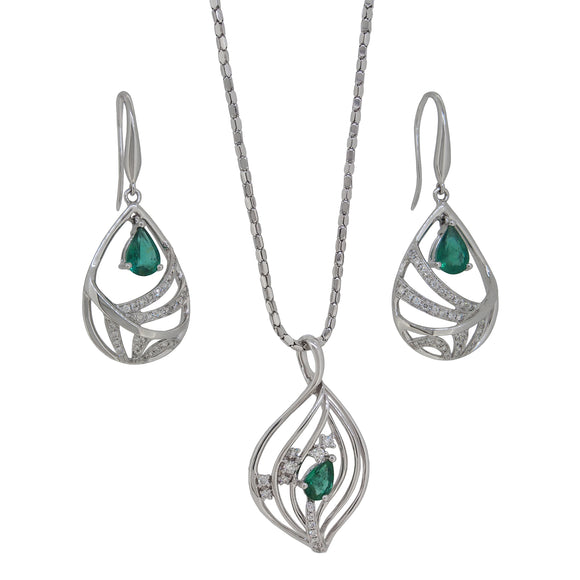 A pair of modern, 18ct white gold, emerald & diamond set earrings & pendant & chain