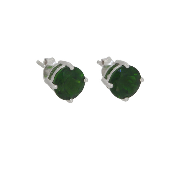 A pair of modern, 9ct white gold, green tourmaline set stud earrings