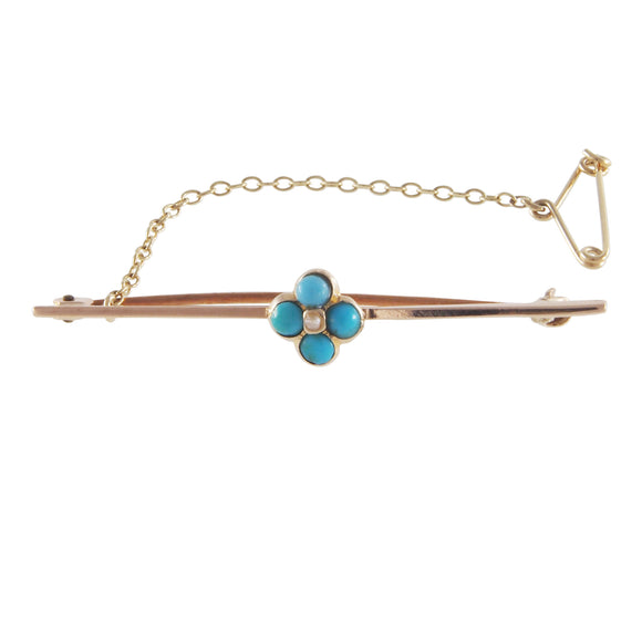 An Edwardian, yellow gold, turquoise & pearl set bar brooch