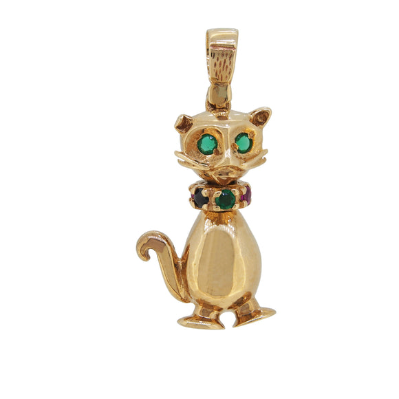 A modern, 9ct yellow gold, green & red coloured gem set, Cat Charm Pendant