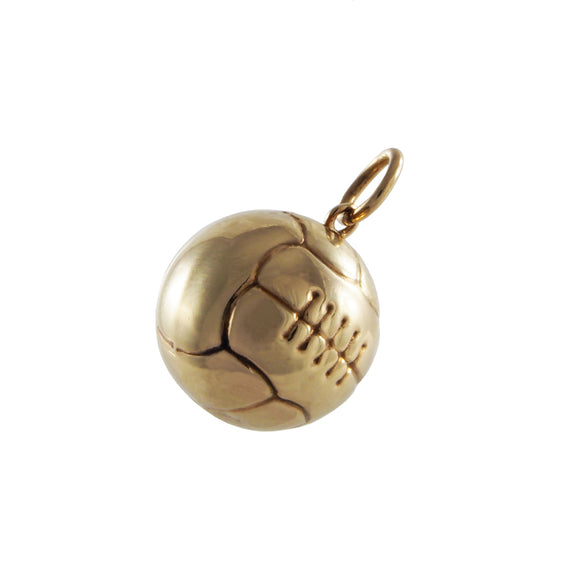 A mid 20th century, 9ct yellow gold, football charm pendant