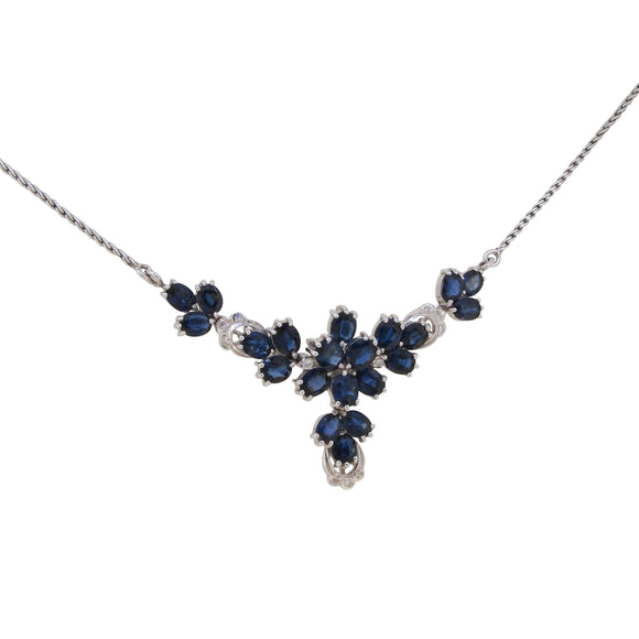 A modern, 14ct white gold, sapphire & diamond set necklet