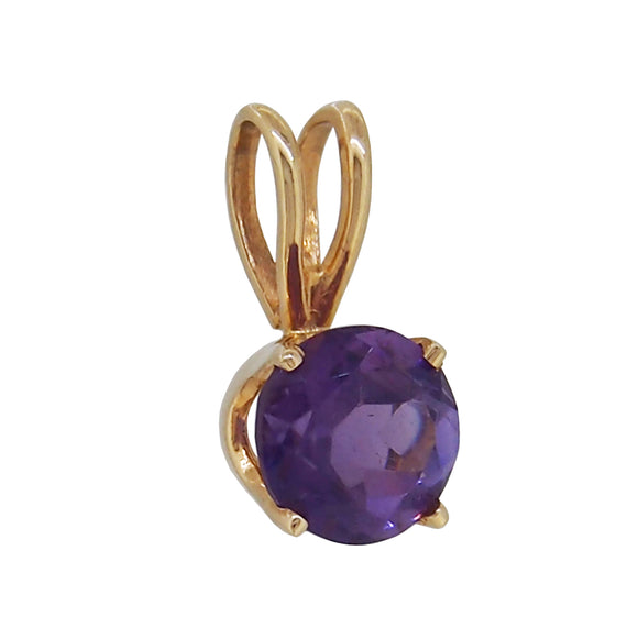 A modern, 14ct yellow gold, amethyst set pendant