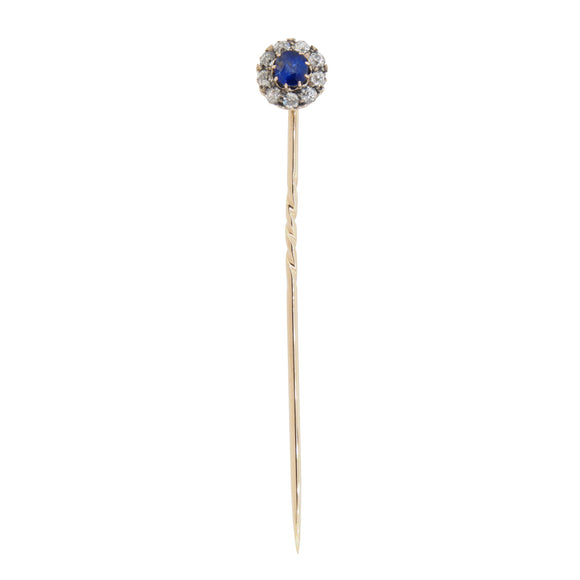 A Victorian, yellow gold, sapphire & diamond set cluster stick pin