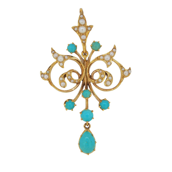 An Edwardian, yellow gold, turquoise & pearl set pendant