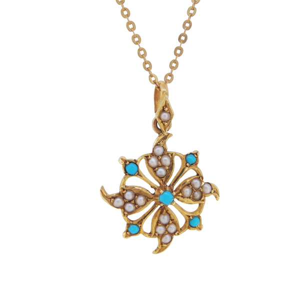 An Edwardian, yellow gold, turquoise & pearl set pendant & chain