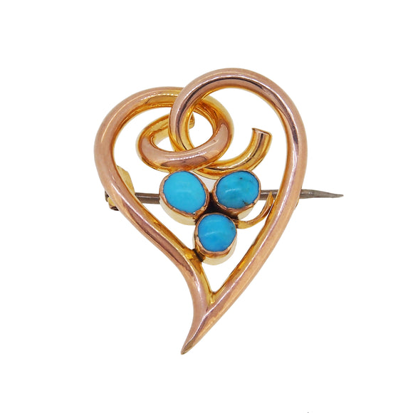An early 20th century, 9ct yellow gold, turquoise set, Bleeding Heart brooch