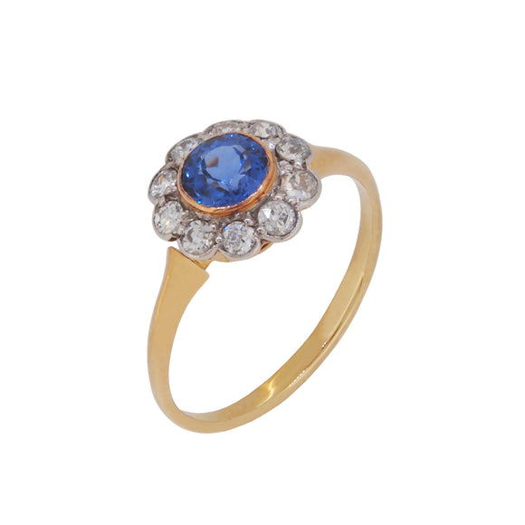 A Victorian, 18ct yellow gold, sapphire & diamond set circular cluster ring