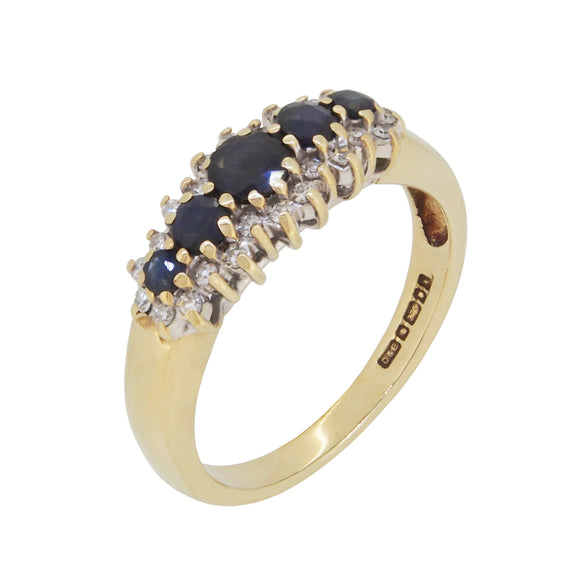 A modern, 9ct yellow gold, sapphire & diamond set, three row, half hoop ring