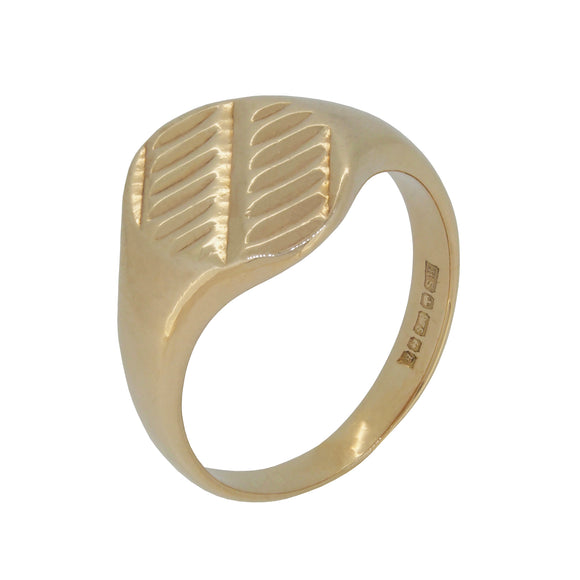 A modern, 9ct yellow gold, oval signet ring